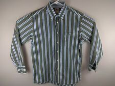 LACOSTE Mens Striped Blue/Brown/Green Vert Striped Long Sleeve Dress Shirt 42 XL