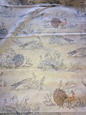 "Vintage Peacock Print Fabric 3 1/2 Yds x 45"" W Cotton Blend White Background"