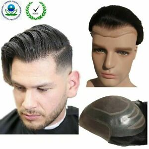 mens Toupee Hair replacement Hairpieces for men Man piece Indian Human Hair 10X8