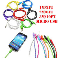 1M/2M/3M Micro USB Data Sync Charger Cable Braided Cord for Galaxy Android Phone