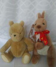 "Gund Classic Pooh Plush Stuffed Animal  9"" Tan Color +Australia Kangaroo and Joe"
