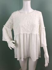 Womens Adrianna Papell Ivory Lace Combo Bell Sleeve Top Size L Large