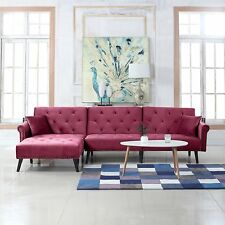 Mid Century Style Velvet Sleeper Futon, Living Room L Shape Sofa, Rose Red