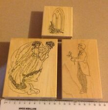 Quality Wood mounted rubber stamp set Wedding Card Scrapbooking Craft