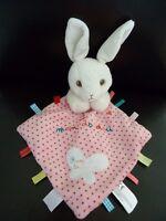 L4-  Mon doudou plat Lapin NICOTOY avec mouchoir blanc rose papillon étiquette