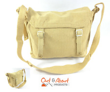 Heavy Duty Canvas Messenger Shoulder Bag Webbing Motorbike Camping KHAKI