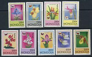 Mongolia Scott 2269-2277 Orchids & butterflies MNH 1997