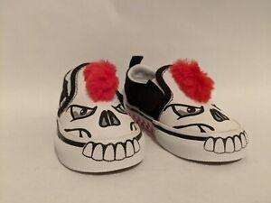 Vans New B Skull Slip-On V Skull/Red Vault Toddler Size USA 5