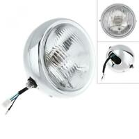 Universal Motorcycle Silver Retro Round Halogen Headlight Lamp CG125 / GN125