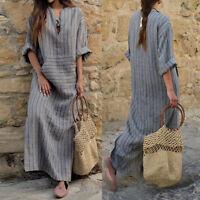 Moda Donna Caftano Cotone Lino langärm Casual Maxi Lungo Camicia abito estivo #