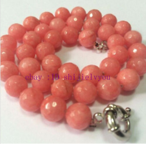 """Natural 8mm / 10mm Faceted pink Rhodochrosite Round Gems beads necklace 18"""" AAA"""