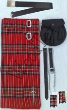 """Scottish Kilt Conjunto Traje Paquete de 7 piezas, Royal Stewart tartán, tamaños de 28"""" a 46"""""""