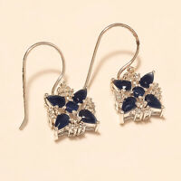 Natural Ceylon Sapphire Earrings 925 Sterling Silver Handmade Fine Jewelry Gifts