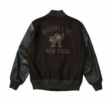 $1200 RRL Ralph Lauren Italian Full Grain Leather Sleeve Wool Jacket Coat-MEN-XL