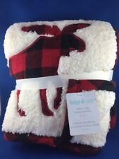 FUZZY CABIN COZY BABY BLANKET WITH A MOOSE         WHITE WITH RED PLAID
