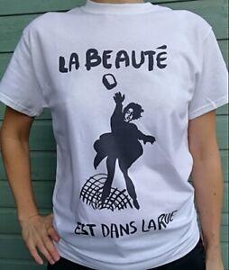 La Beauté Est Dans La Rue T Shirt Retro Paris France 1968 Protest Poster New 026