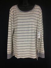 Womens grey off white striped long sleeve Vans T shirt Size XL New with tags