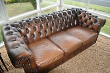 Vintage Chesterfield Leather MORAN. 2 x single + 1 x 3 seater Brown in colour.