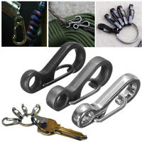 Useful Stainless Steel Split Keychain Key Ring Clasps Clips Hook Carabiner