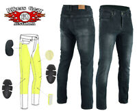 Australian Bikers gear Motorcycle Trousers Stretch Jeans Lined with Kevlar GREY