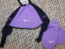 New! Girls Nike Winter Hat/Mittens Lot/Set (Purple Fleece) - Infant 12-18-24 mo