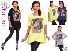 Long Asymétrique T-Shirt Avec Poches Vogue Haut Imprimé Taille De La Tunique