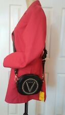 NWT Authentic Valentino Round Leather Crossbody Bag Black w/Silver Spiked Studs