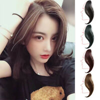 Long Human Hair Clip in Hair Extension Side Fringe Middle Part Bangs Hairpiece