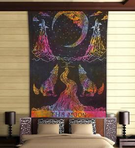 Twin Indian tapestry wall hanging wolf howling moon astro bed throw cover decor
