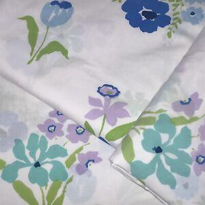 3 Vtg Flower Twin Sheets Set 2 Flat 1 Fitted Perma Prest White Blue Purple Mod
