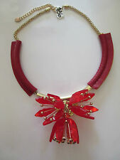Necklace Red Leather Huge Crystal Dimensional Flower Rhinestone Unique NWT G16