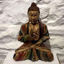 Wood Buddha Thai Vintage Aged Hand Carved Painted Fair Trade Rustic Buddhas