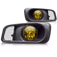 For 1999-2000 Honda Civic Sedan Coupe Yellow Lens Chrome Housing Fog Lights Lamp
