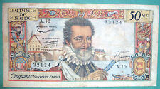 FRANCE 50 NOUVEAUX NEW FRANCS, P 143 , ISSUED 5.3. 1959, HENRI IV
