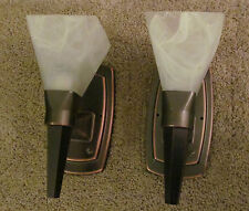 PAIR of RV 12 Volt Torch Style Oil Rub Bronze Wall Light Alabaster Glass Shade