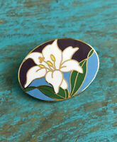 Cloisonné Enamel LILY Pin Brooch Vintage Estate Costume Jewelry Made In Taiwan