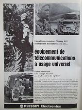 11/1966 PUB PLESSEY ELECTRONICS EMETTEUR RECEPTEUR A13 LAND ROVER FRENCH AD