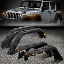 FOR 07-18 JEEP WRANGLER JK 4PCS POCKET-RIVETED STYLE WHEEL FENDER FLARES W/ LED