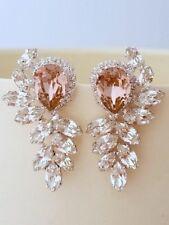 6Ct Pear Cut Pink Morganite Simulant Diamond Stud Earrings Silver White Gold Fns