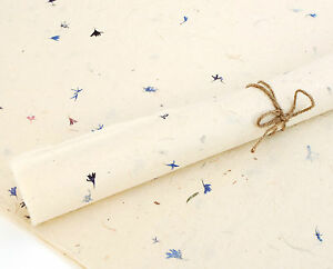Lokta Paper, Handmade Fair Trade Wrapping Paper, Natural with Flower Petals
