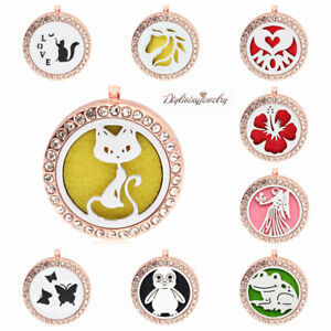 Rose gold crystal Diffuser Necklace Lockets Essential Oil Aromatherapy pendants