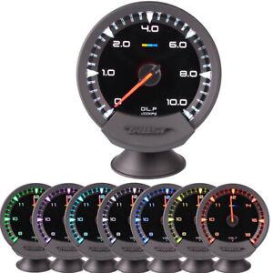 74mm Digital 7 Colors LED Oil Pressure Gauge With Sensor Auto Car Stepper Motor