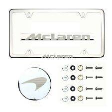 Fit Mclaren Laser Etching Stainless Steel Polish Chrome Slim License Frame w/Cap