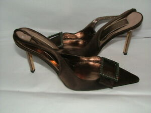 WOMENS CHRISTIAN LACROIX SLINGBACK SIZE 6 B BROWN SATIN LEATHER #350