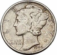 Mercury Winged Liberty Head 1942 Dime United States Silver Coin Fasces i43149