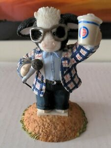 """Enesco Mary's Moo Moos Harry Caray Chicago Cubs 4"""" Collectible Figurine 2003"""
