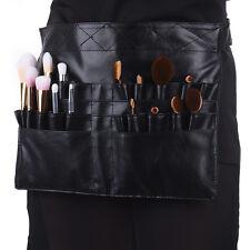 PU Leather Pro Cosmetic Makeup Brush Waist Pack Bag Holder Belt Organizer Black