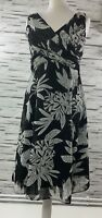 WALLIS Black and White Floral Drape Flare Dress - Size 10 Occasion Party Smart