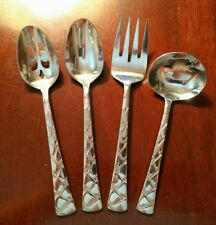 4pc Pfaltzgraff CRANBROOK Stainless Flatware Glossy Serving Spoons/Fork/Ladle