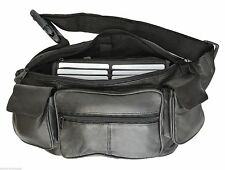 New Black Solid Leather Fanny Pack Travel Waist Belt Bag Pouch Unisex